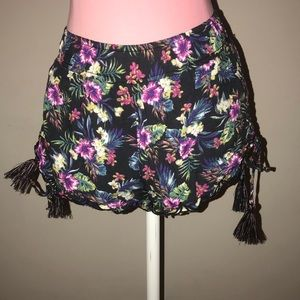 Tropical Shorts with Side Tie